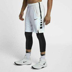 Nike- Men's White with Black Dri-Fit Elite Shorts